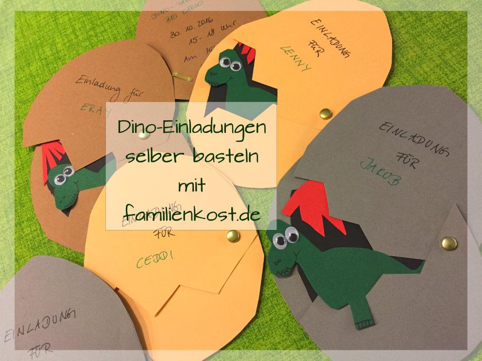 Dino-Einladungskarten zur Dinoparty selber basteln