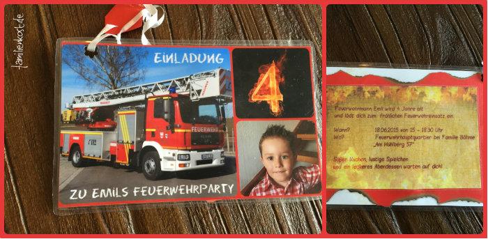feuerwehr-party zum kindergeburtstag, Einladung