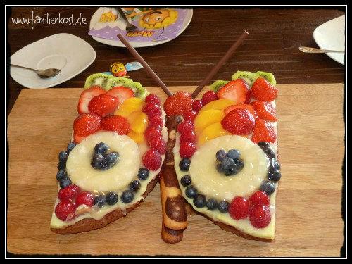 Obstschmetterling Als Obstkuchen Mit Pudding
