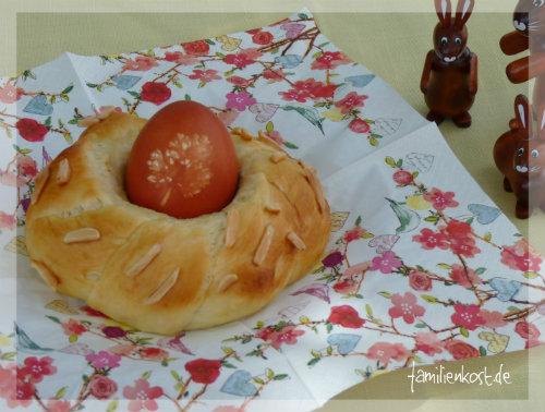 Osternest aus Hefeteig