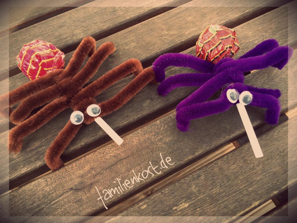 Lutscher als Spinnen für Halloween basteln