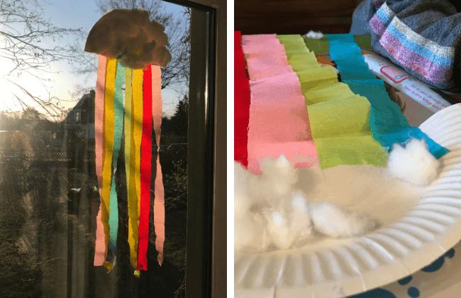 Regenbogen-Wolke als Fensterbild basteln