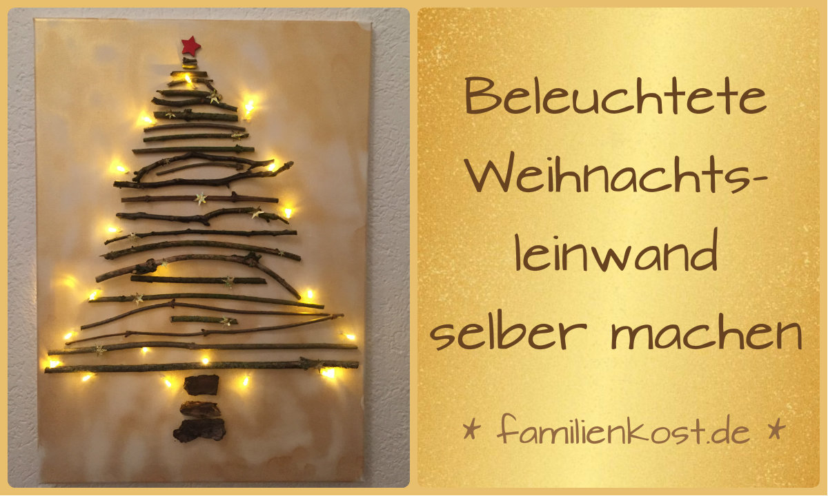 weihnachts leinwand mit lichterkette selber machen. Black Bedroom Furniture Sets. Home Design Ideas