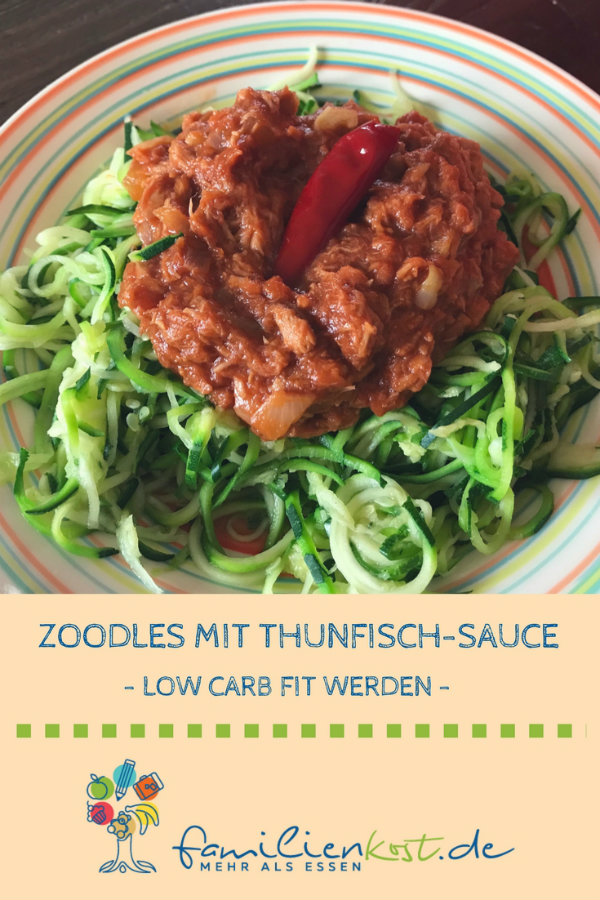 Zucchini Nudeln Thunfisch Sauce Low Carb